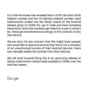 Google takes responsibility for UIDAI number in contact list